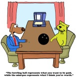 Business cartoon about salary negotiation between two enemies, a dog and a cat.